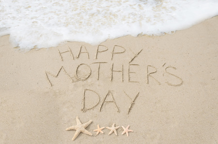 Happy mothers day background on the sandy beach