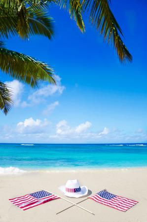 union beach: American holidays background on the sandy beach near the ocean