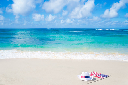labor union: American holidays background on the sandy beach near the ocean