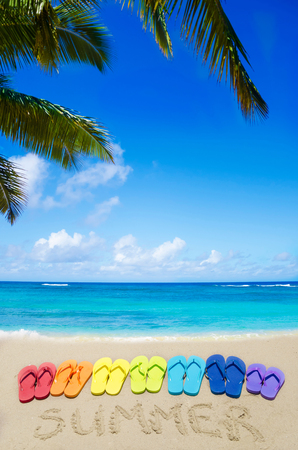 """Sign """"Summer"""" and color flip flops on sandy beach by the ocean in sunny day"""