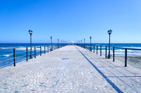 Pier with arbor in the Mediterranean Sea, Limassol, Cyprus Imagens