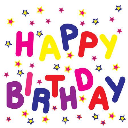 selebration: Happy Birthday background with stars on white phone Stock Photo