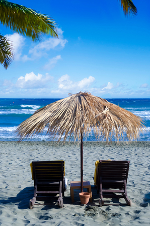 Wicker umbrella on the beach in Limassol, Cyprus