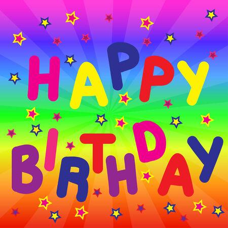 festive: Happy Birthday background with stars on rainbow phone