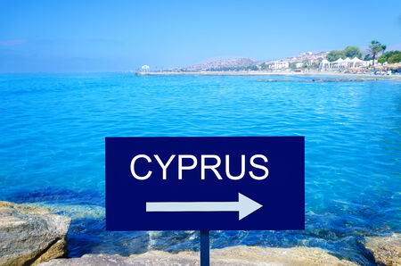 Sign Cyprus by the Mediterranean Sea landscape