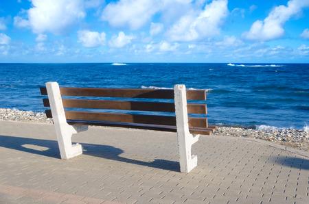 Bench next to Mediterranean Sea (Cyprus, Limassol) Imagens