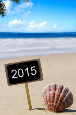 Sign 2015 on a nameplate with seashell by the ocean photo