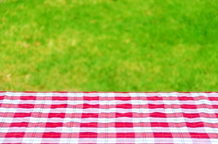 red grass: Picnic tablecloth textile on the table background