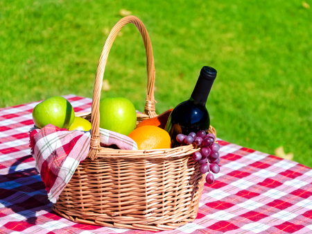 Picnic basket with fruits and wine on grass background