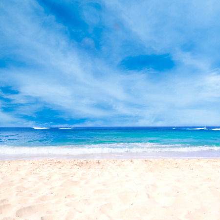 sea waves: Sandy beach background next to ocean, Hawaii, Kauai Stock Photo