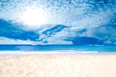 kauai: Sandy beach background next to ocean, Hawaii, Kauai Stock Photo