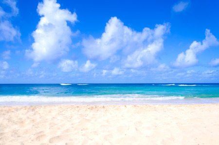 Sandy beach background next to ocean, Hawaii, Kauai Stock Photo
