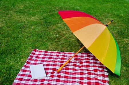 rainbow umbrella: Rainbow umbrella and Picnic cloth with book on the grass background