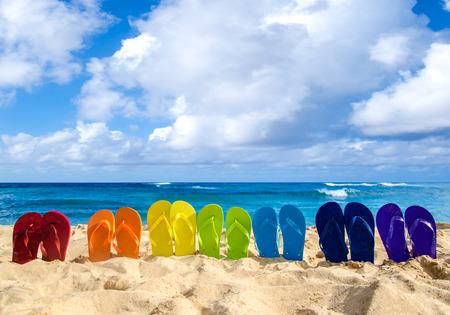 flops: Colorfull flip flops on the sandy beach in Hawaii, Kauai Stock Photo