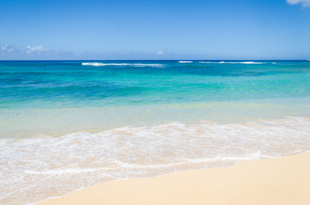 Ocean and tropical sandy beach background (Hawaii, Kauai)