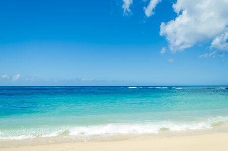 kauai: Ocean and tropical sandy beach background (Hawaii, Kauai)