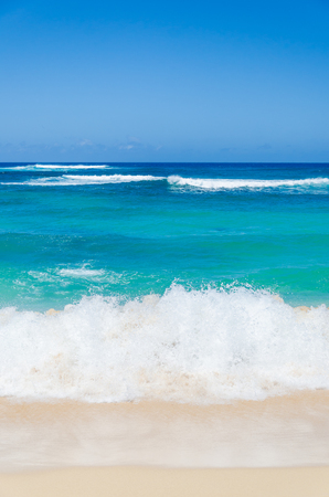 Ocean and tropical sandy beach background (Hawaii, Kauai)