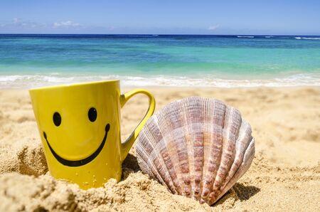 cara de alegria: Taza feliz de la cara con la concha en la playa de arena Foto de archivo