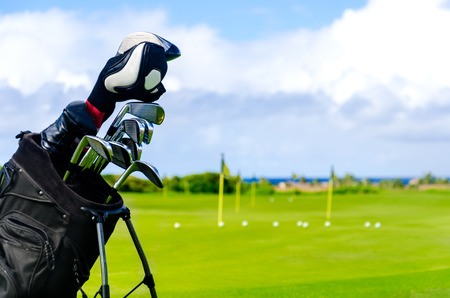 kauai: Golf background with clubs, in Hawaii, Kauai
