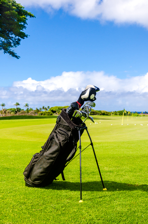 Golf background with clubs, in Hawaii, Kauai