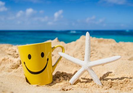 cara de alegria: Estrellas de mar con cara feliz taza en la playa en Hawaii, Kauai