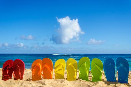 Colorful flip flops on the sandy beach in Hawaii, Kauai 版權商用圖片