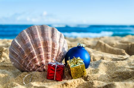 beach happy new year: Merry Christmas and Happy New Year background with Seashell, gift and balls on the tropical beach near ocean in Hawaii