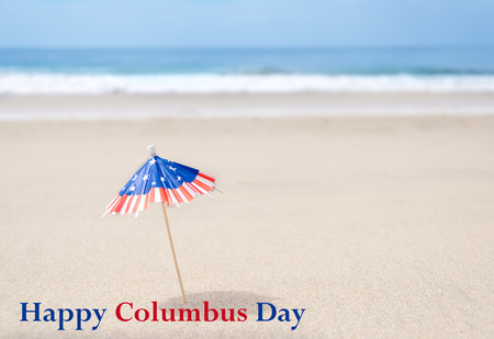 presidents' day: Columbus Day background with starfishes and decorations on the sandy beach Stock Photo