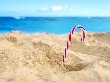 beach happy new year: Merry Christmas and Happy New Year background, candy on the tropical beach near ocean in Hawaii Stock Photo