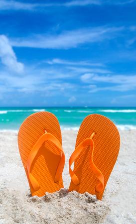 flops: Ocean Halloween background with flip flops Stock Photo