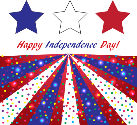 Happy Independence day USA background, American flag colors, square,