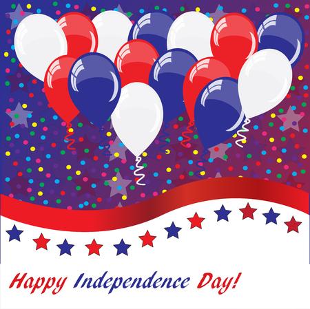 Amerikanischer Feiertagshintergrund mit Ballonen (amerikanische Flaggenfarben)