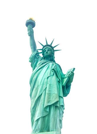 Standbeeld van Vrijheid op Liberty Island in de Haven van New York in de Stad van New York in de Verenigde Staten - die op wit worden geïsoleerd.