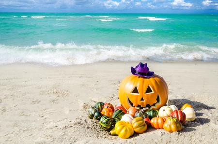 Halloween-pompoenachtergrond op het zandige strand dichtbij de oceaan Stockfoto