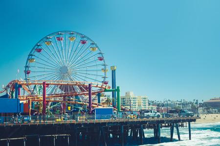 Santa Monica Pier in sunny day, California, USA