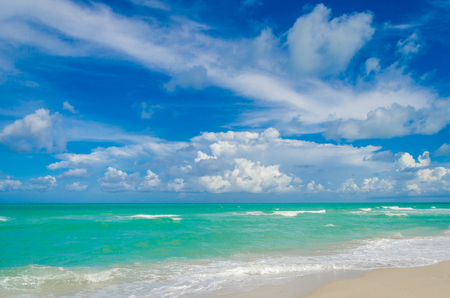 Miami tropical beach, blue sky and ocean, Florida, USA