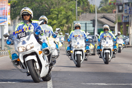 Kota Bharu, Kelantan - March 1, 2013 ; A group of Royal Malaysian Police escorting Le tour de Langkawi cycling event in Kota Bharu.