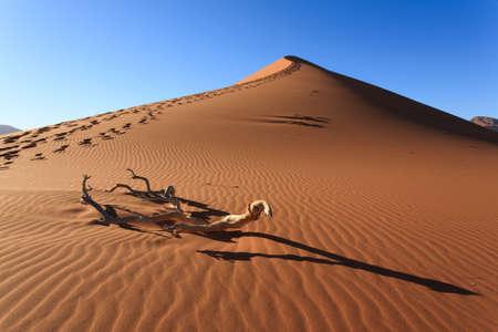 Rode duin aan de weg naar Sossusvlei, Namibië Stockfoto