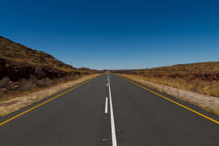 kalahari: Tarmac road from Mariental to Kalahari desert Stock Photo