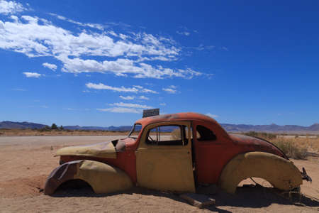 abandoned car: Abandoned car from Solitaire, Namibia Stock Photo