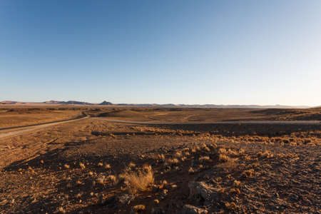 sossusvlei: Panorama trought red dunes from Sesriem to Sossusvlei, Namibia
