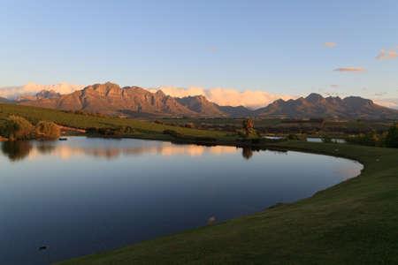 Een Stellenboscsh panorama met typische rijen wijnstokken, Zuid-Afrika