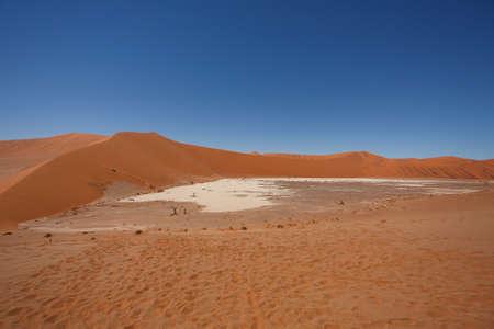 vlei: Panorama of red dunes from Hidden Vlei, Sossusvlei Namibia Stock Photo
