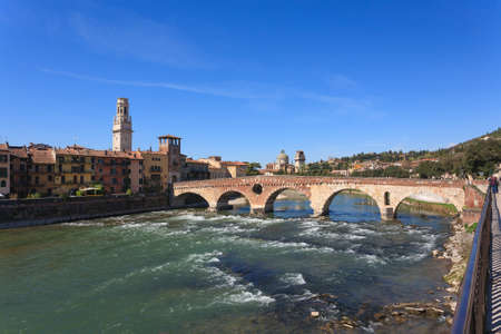 A view of Ponte Pietra, Verona panorama, Italy photo