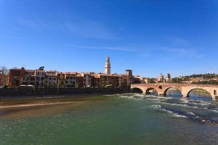 romeo and juliet: A view of Ponte Pietra, Verona panorama, Italy