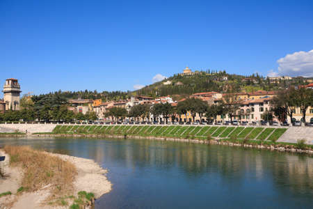 A view of Verona and Adige river from Ponte Pietra, Italy photo
