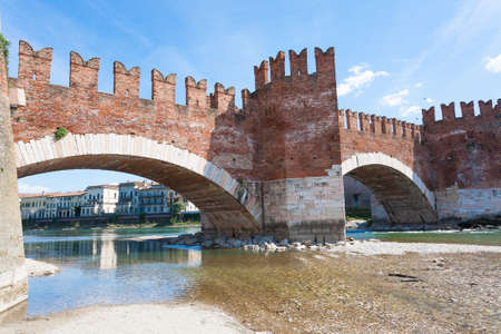 A view of Castle Vecchio Bridge, Verona, Italy
