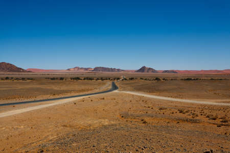 burchell: Panorama trough red dunes from Sesriem to Sossusvlei Namibia