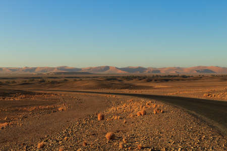 sossusvlei: Panorama trought red dunes from Sesriem to Sossusvlei Namibia