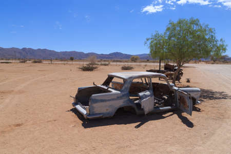 abandoned car: Abandoned car from Solitaire Namibia